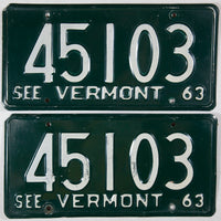 1963 Vermont passenger car license plates