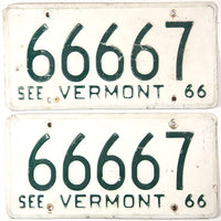 1966 Vermont passenger automobile license plates