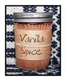 Vanilla Spice scented half pint candle jar by Black Crow