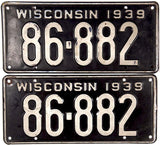 1939 Wisconsin License Plates in very good condition