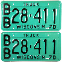 1970 Wisconsin Truck License Plates