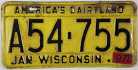 A 1972 Wisconsin License Plate