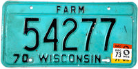 1973 Wisconsin Farm License Plate