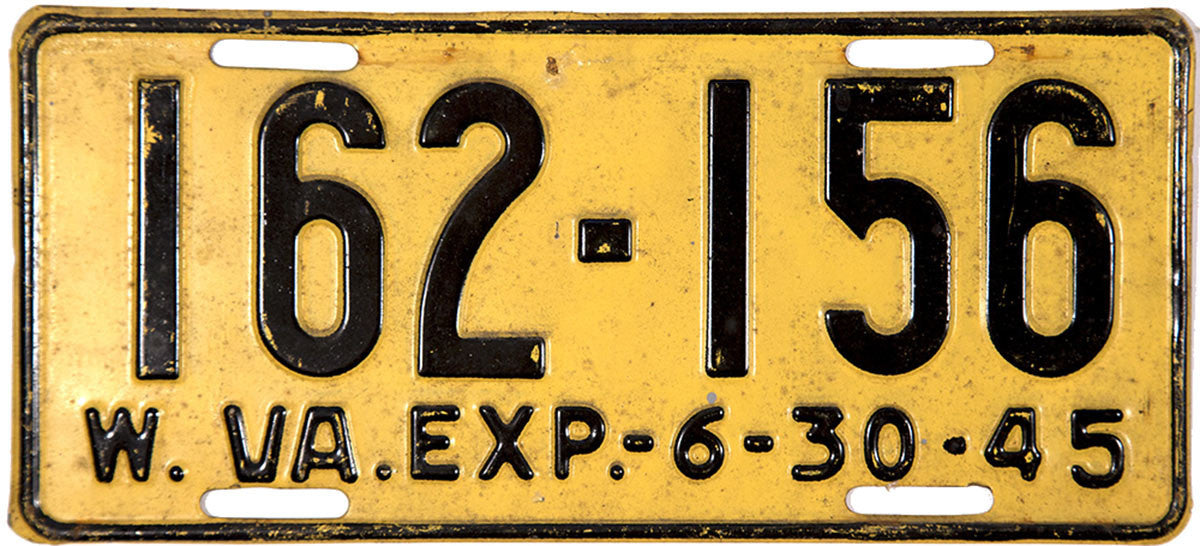 1945 West Virginia License Plate
