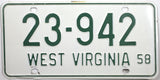 1958 West Virginia License Plate in excellent minus condition