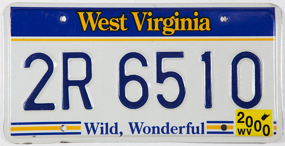 2000 West Virginia passenger car license plate