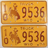 1974 Wyoming Truck License Plate