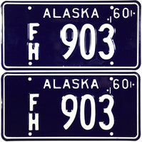 DMV 1960 Alaska For Hire License Plates