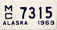 1969 Alaska Motorcycle License Plate in Near Mint condition