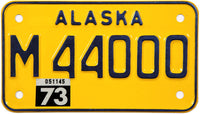 1973 Alaska Motorcycle License Plate