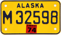 1974 Alaska Motorcycle License Plate