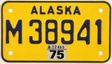 1975 Alaska Motorcycle License Plate in Near Mint condition
