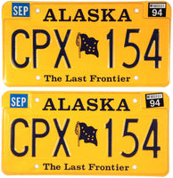 Pair of 1994 DMV Alaska License Plates