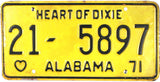 1971 Alabama License Plate