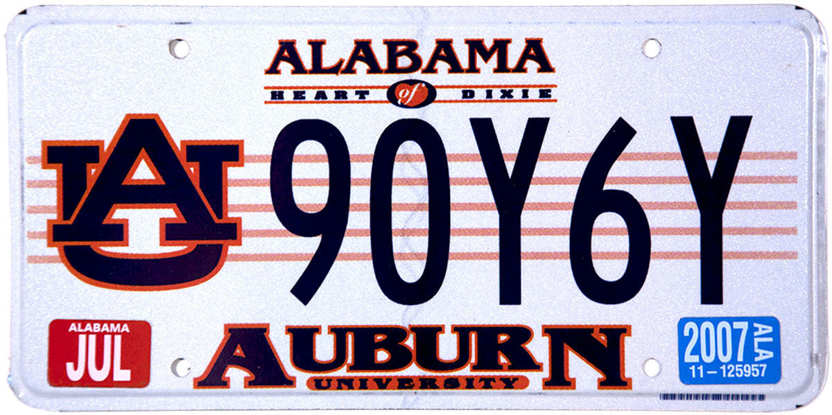 2007 Alabama Auburn University License Plate