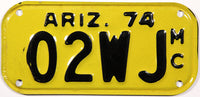 1974 Arizona Motorcycle License Plate