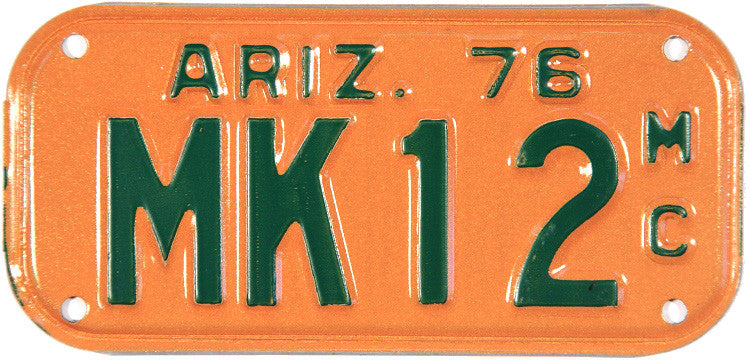 1976 Arizona Motorcycle License Plate