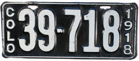 1918 Colorado License Plate