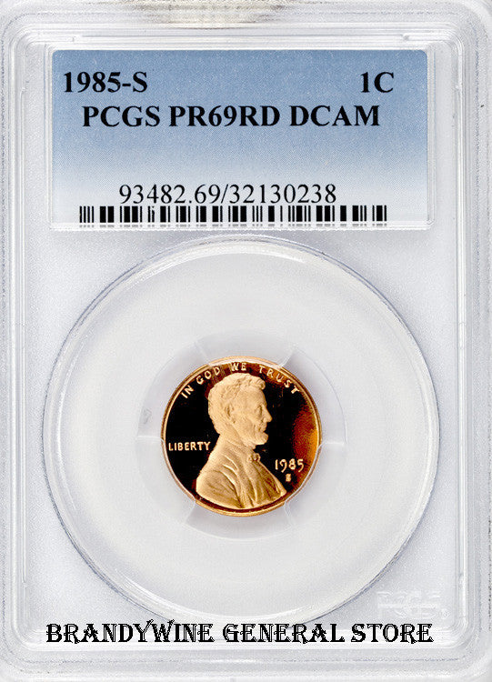 1985-S Lincoln Cent certified by PCGS at Proof 69 Red with Deep Cameo