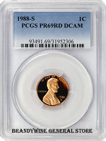 1988-S Lincoln Cent certified by PCGS at Proof 69 Red with Deep Cameo