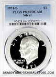 1971-S Silver Eisenhower Dollar PCGS Proof 69 Deep Cameo
