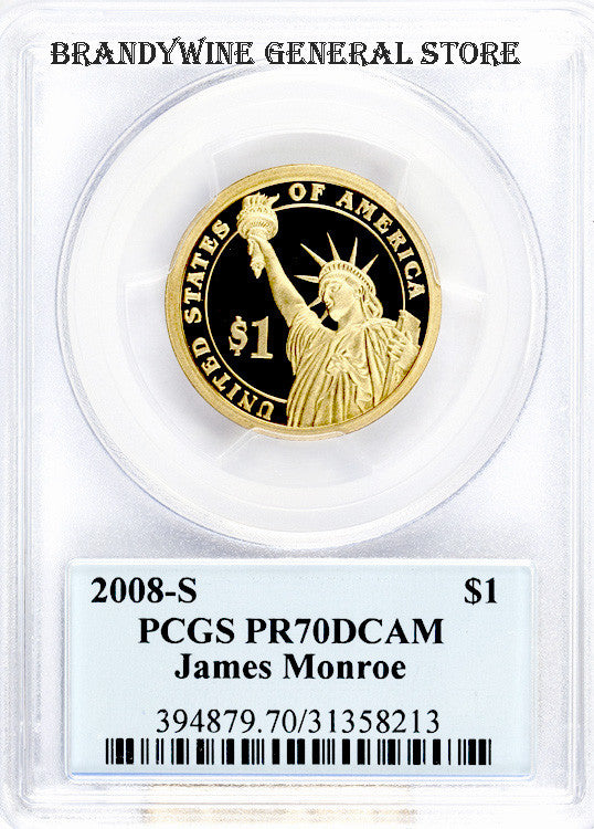 2008-S James Monroe Presidential Dollar PCGS Proof 70 Deep Cameo