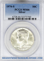 1976-S Kennedy Silver Bicentennial Half Dollar certified by PCGS at Mint State 66