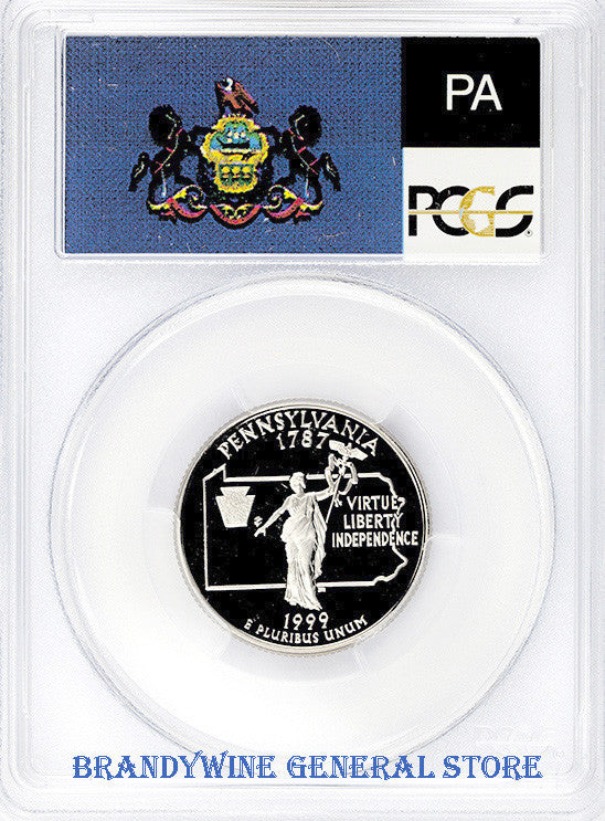 1999-S Pennsylvania Statehood Quarter certified by PCGS at Proof 69 Deep Cameo