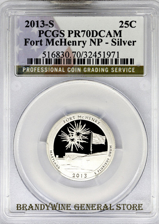 2013-S Fort McHenry Silver Quarter PCGS Proof 70 Deep Cameo