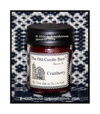 Cranberry scented primitive half pint candle jar made by The Old Candle Barn