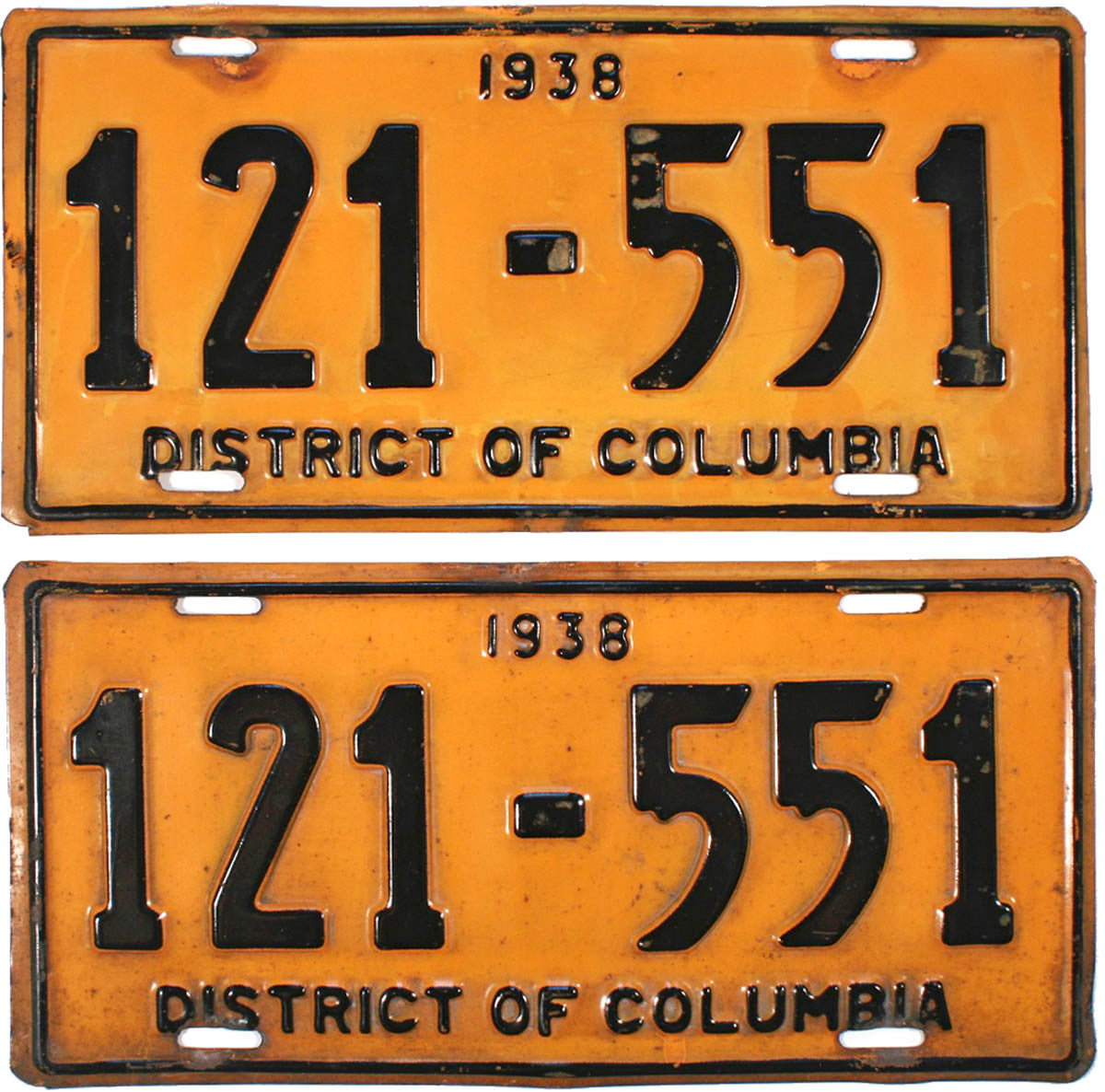 1938 District of Columbia License Plates