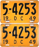 1949 District of Columbia License Plates