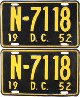 1952 District of Columbia License Plates
