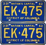 1962 District of Columbia License Plates