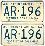 1963 District of Columbia License Plates