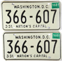 1968 District of Columbia License Plates