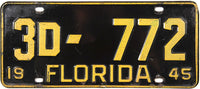1945 Florida License Plate Very Good Plus condition