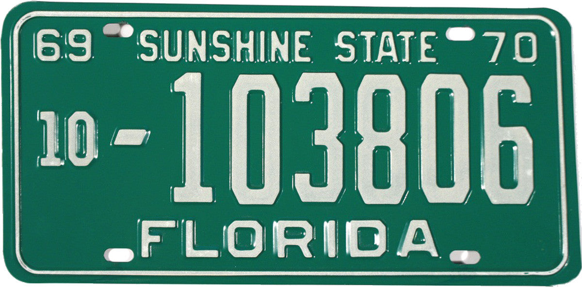 1969 - 70 Florida License Plate