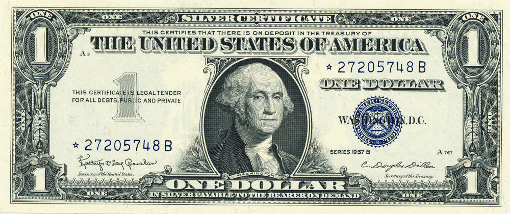 Fr 1621 Silver Certificate One Dollar Star Note Series 1957B ...