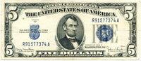 Fr 1654 Five Dollar Silver Certificate Series 1934D