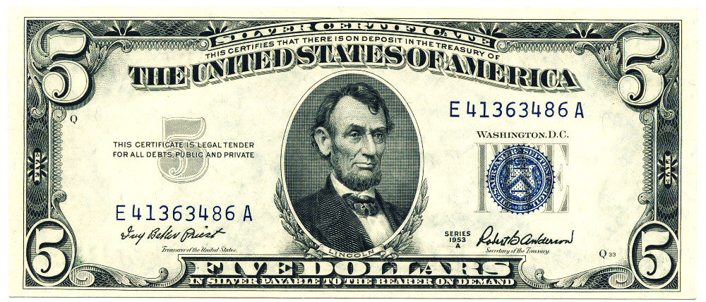 Fr 1656 Five Dollar Silver Certificate 1953a Series Certified