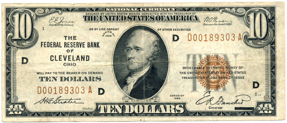 Fr 1860-D 10.00 Federal Reserve Bank Note 1929