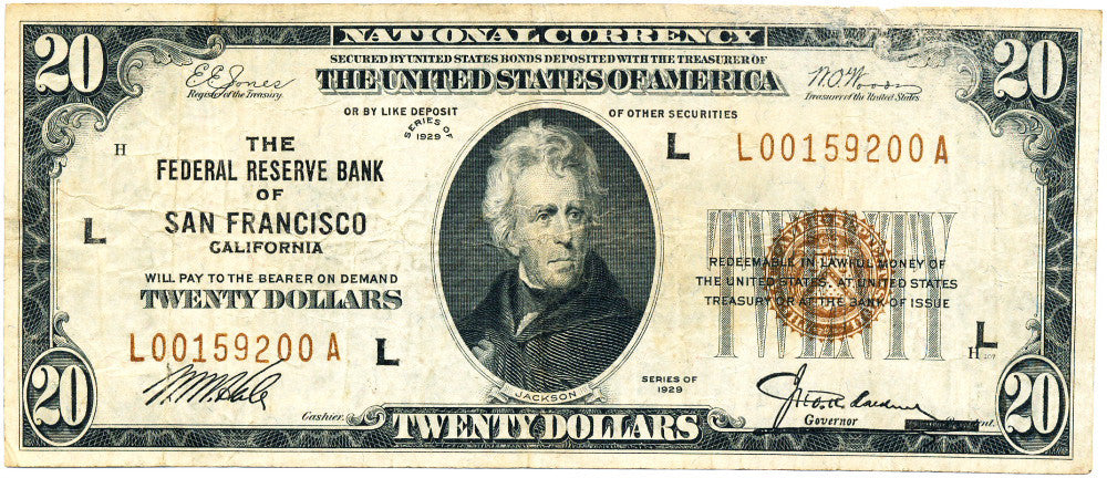 Fr 1870-L Federal Reserve Bank Note Twenty Dollars 1929