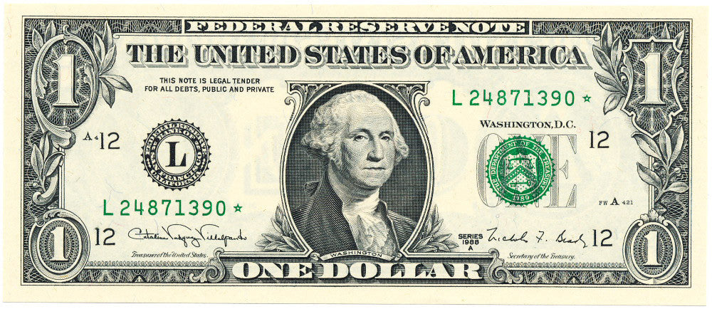 Fr 1916L* One Dollar Federal Reserve Star Note Series 1988A Gem Uncirculated