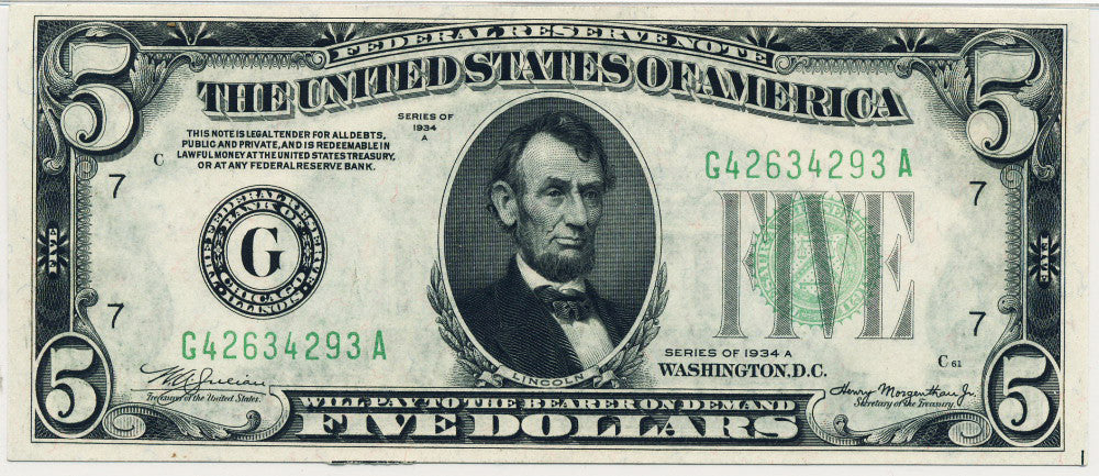 Fr 1957-G Five Dollar Federal Reserve Note Series 1934A Certified