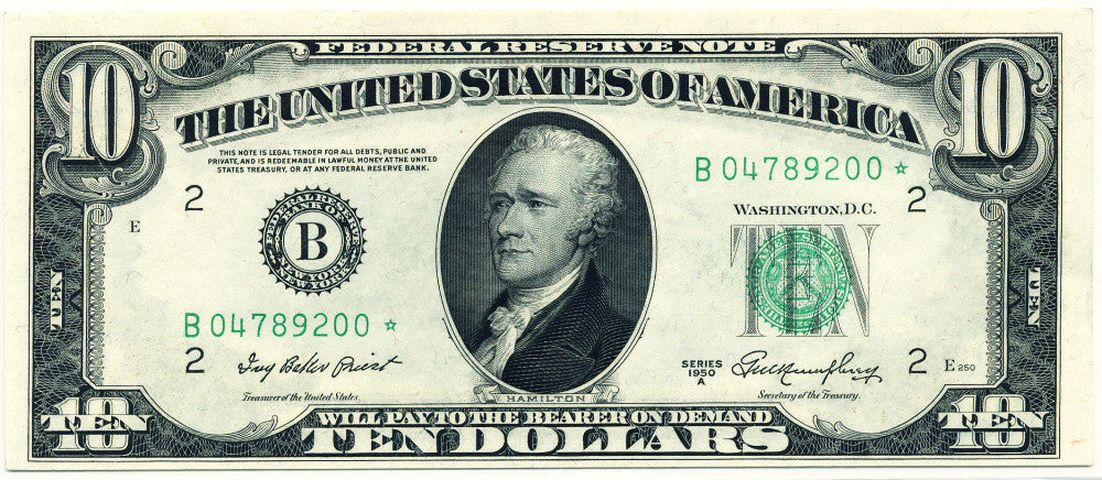 Fr 2011-B* Ten Dollar Federal Reserve Star Note 1950A Certified