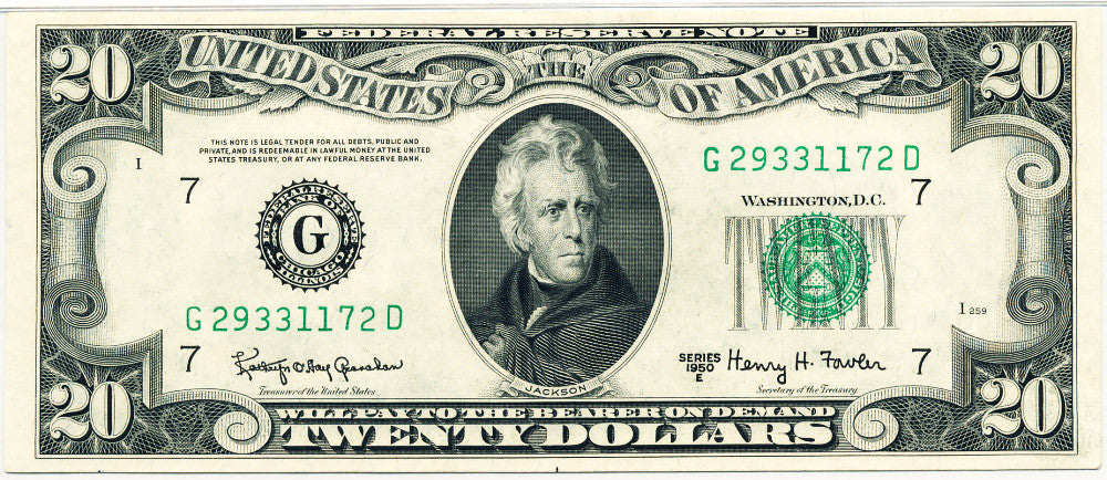 Fr 2064-G Federal Reserve Note Twenty Dollars 1950E PMG 66