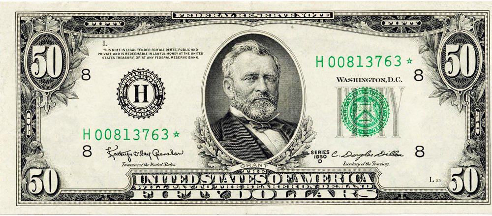 Fr 2111-H* Fifty Dollar Federal Reserve Star Note 1950D