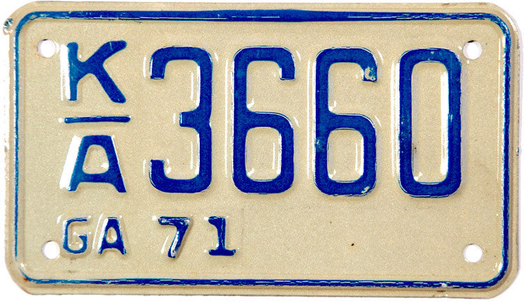1971 Georgia Motorcycle License Plate