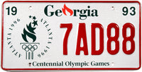 1993 Georgia Olympic License Plate